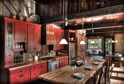 rustic red kitchen cabinets land s end development cabin kitchens pinterest land