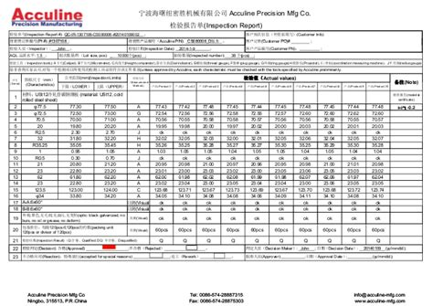 part inspection report template china acculine sheet metal drawing quality