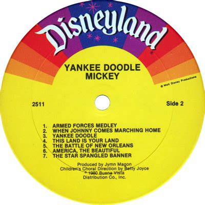 yankee doodle mickey spangled banner disneylandrecords 2511 walt disney productions