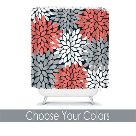 navy and coral shower curtain shower curtain custom you choose colors coral navy gray