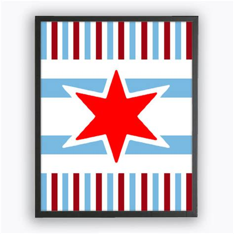 printable red star items similar to diy chicago flag red star stripes