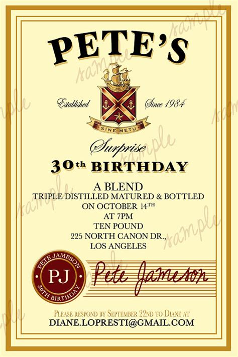 Whiskey Label Template custom whiskey label birthday by