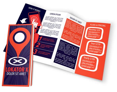 4 panel accordion fold brochure mockup cover actions