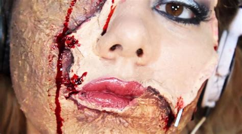 zombie scar tutorial horrifying halloween makeup diy scarred face with flayed