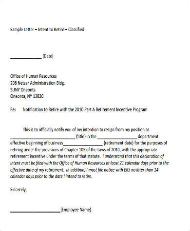 Intent To Retire Letter by Sle Letter Of Intent Format 9 Exles In Word Pdf