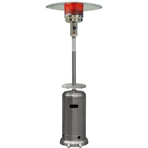 7 Ft Steel Umbrella Propane Patio Heater In Stainless Propane Patio Heaters