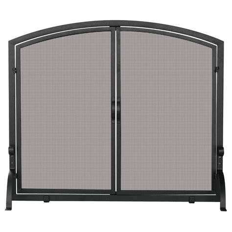 Single Panel Fireplace Screens by Uniflame Black Wrought Iron Single Panel Fireplace Screen With Doors Medium S 1062 The Home Depot