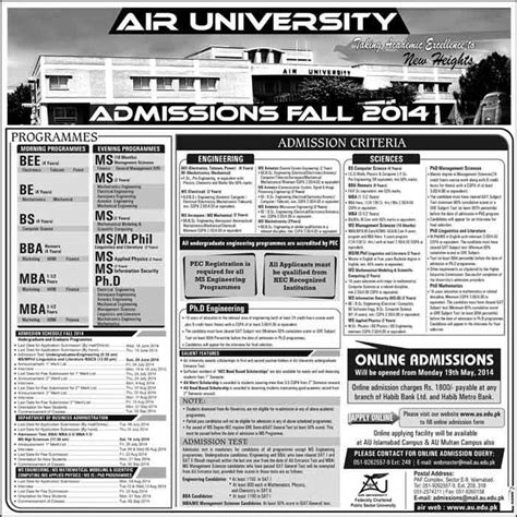 Apply For Both Ms And Mba Programs In Utsa by Admissions Open 2014 In Air Islamabad For Bee