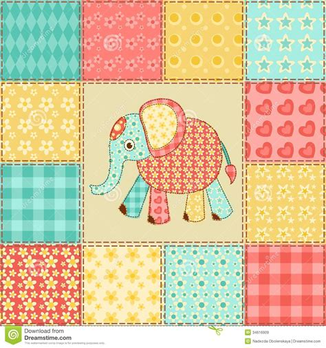 Patchwork Free Patterns - elephant patchwork pattern royalty free stock images