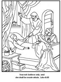 coloring pages jesus heals jesus restores jairus to coloring page
