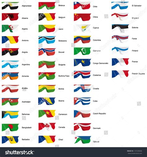 flags of the world lettering vector illustration of world flags letters a to f