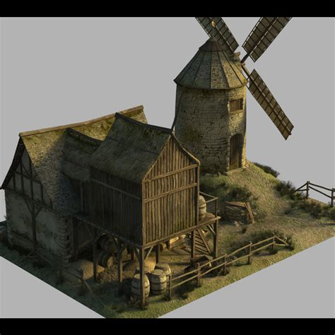 Free 3d Architecture Software medieval windmill extended license 3d models extended