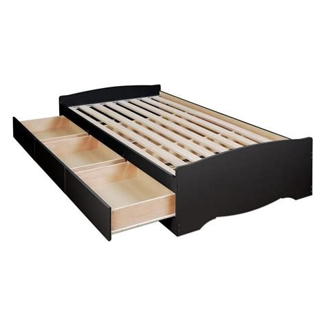 Black Platform Bed by Prepac Sonoma Black Wood Platform Storage Bed 3 Pc Bedroom