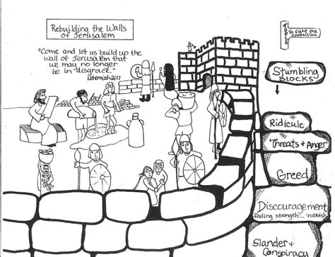 coloring page for nehemiah rebuilding the wall nehemiah restores hope aunties bible lessons