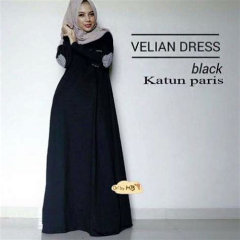 Supplier Dress Katun Chandis By Ootd jual harga gamis hitam dress hitam dress muslimah velian black ootd zero2fifty