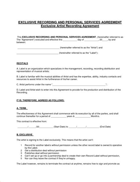 Record Label Contracts Templates by Contract Recording Contract Template