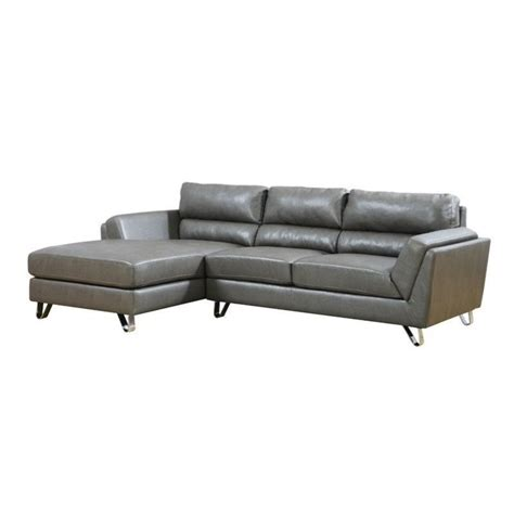 Charcoal Gray Leather Sofa Leather Sofa Lounger In Charcoal Gray With Padded Seat I8210gy