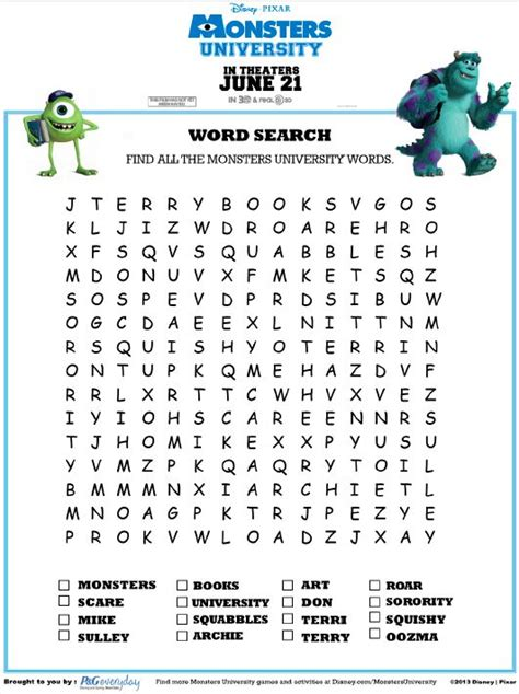 printable word search thailand monsters university word search disney pinterest