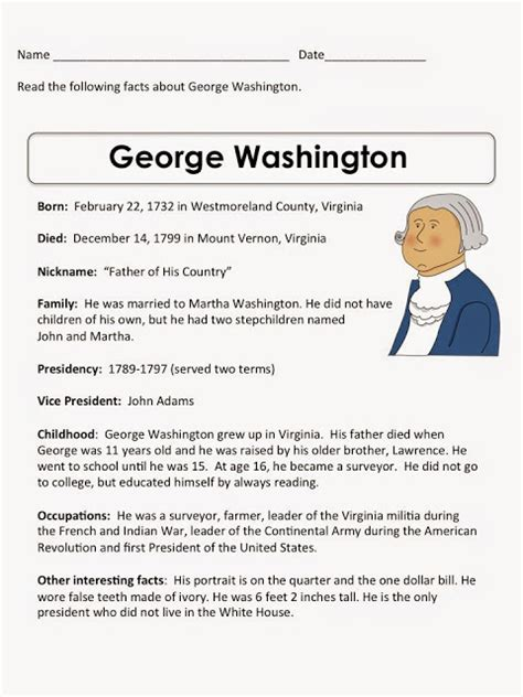biography george washington for elementary students life timeline activity for students
