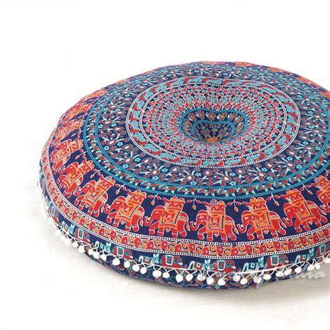 blue decorative seating floor pillow boho mandala bohemian