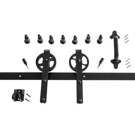 Door Hardware Home Depot by Heavy Duty Black Rolling Barn Door Hardware Kit
