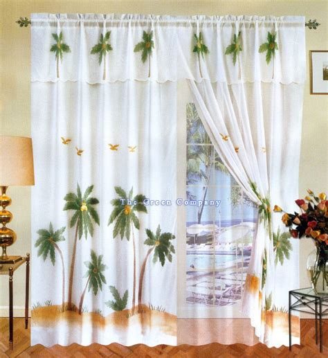 Palm Tree Kitchen Curtains Palm Tree Seer Curtais White Palm Tree 6pc Window Curtain Drapes Valance Curtains