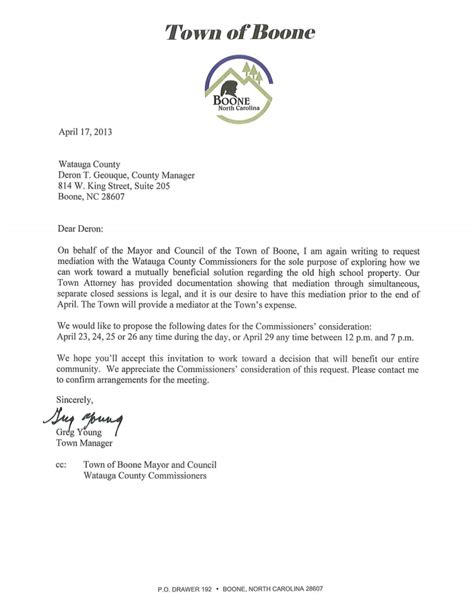here is boone manager s letter dated april 17 that was sent to county manager again requesting
