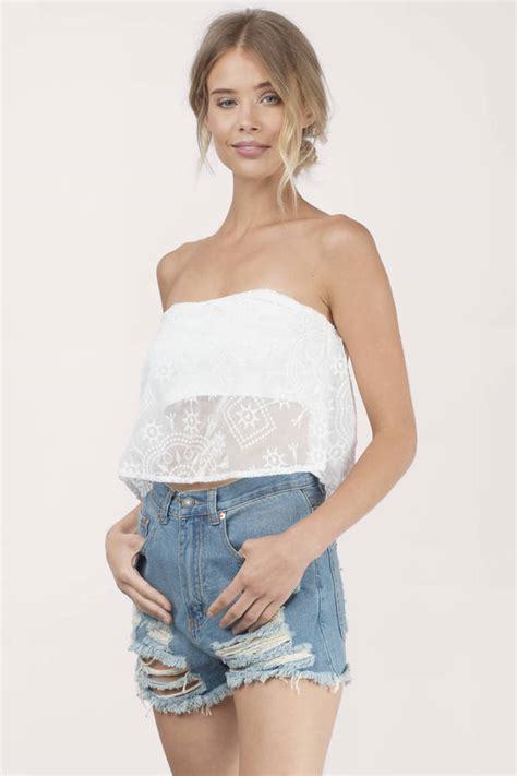 White Top by White Crop Top Strapless Top White Top White