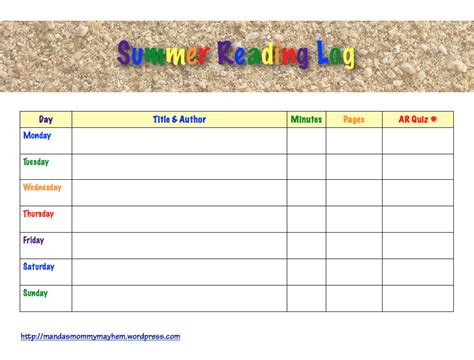 summer reading log template who summer reading manda s