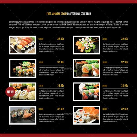 sushi restaurant menu square 3 fold brochure 03 by