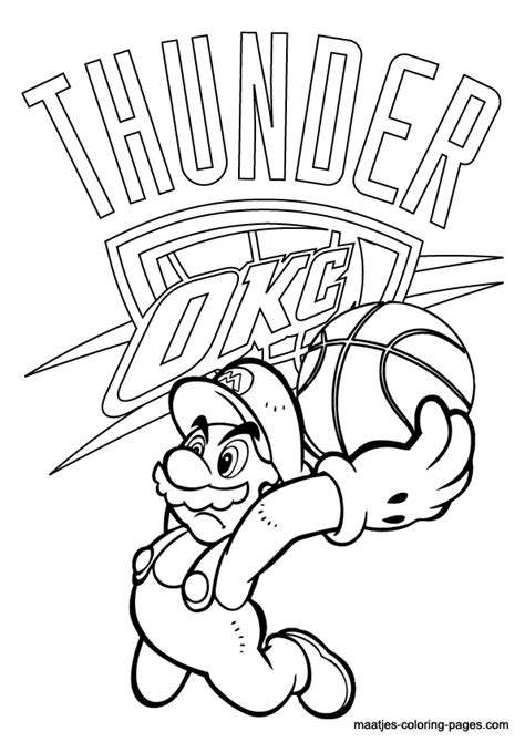 nba coloring pages oklahoma city thunder free coloring pages