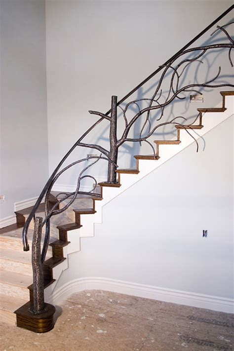 banister and railing ideas tree style banister stairway railing interior design ideas