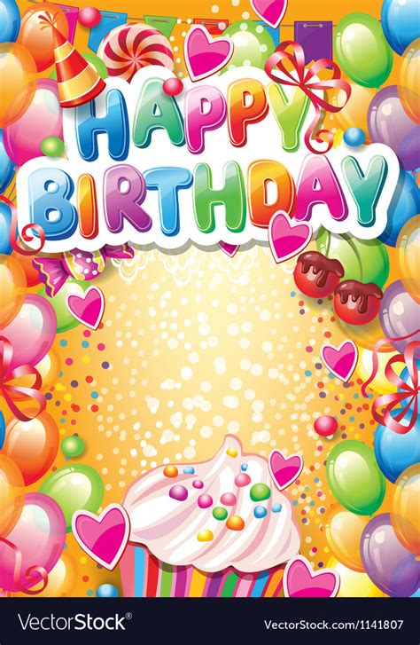 Template For Happy Birthday Card With Place For Vector Image Card Template Birthday