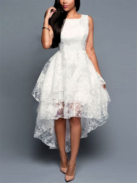 lace prom dress sleeveless floral printed organza high
