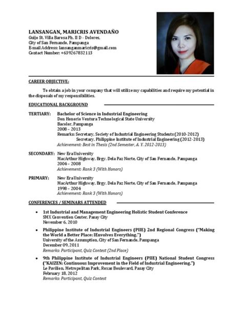 Resume Ph Resume Sle For Fresh Graduate Inspiredshares