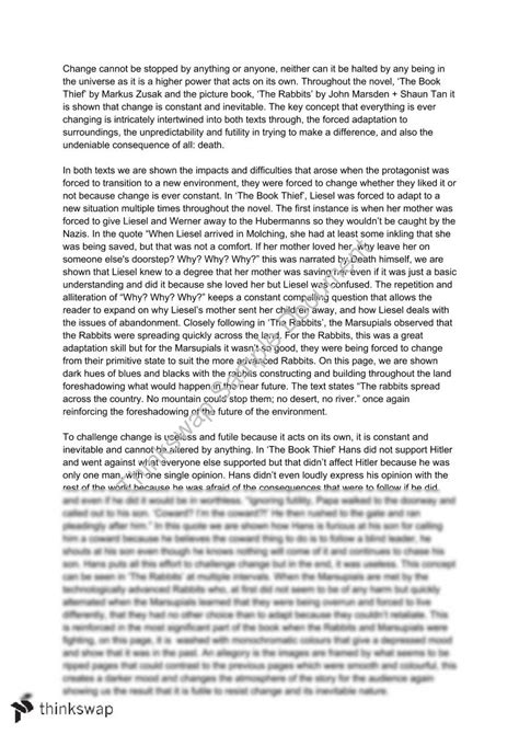 Book Thief Essay by The Book Thief The Rabbits Essay Year 11 Hsc Advanced Thinkswap