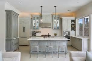 gray hutch and sideboard transitional kitchen maison