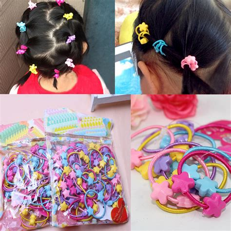 cute natural styles with colorful rubberbands cute easy 50pcs pack cute children elastic hair bands kids hair ties