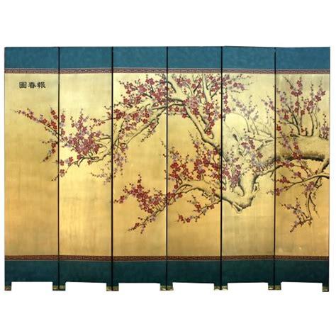 cherry blossom room divider six panels cherry blossom room divider screen gold leaf