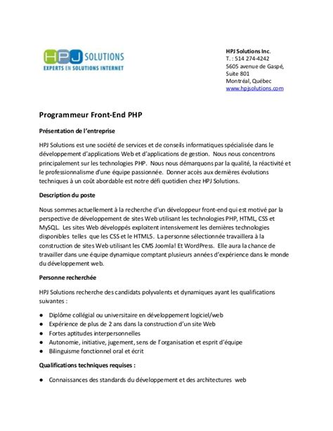 Lettre De Motivation Developpeur Mobile Hpj Solutions Offre Emploi D 233 Veloppeur Front End