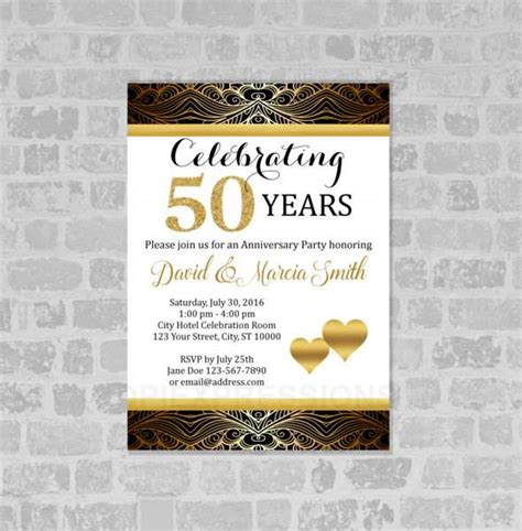 50th anniversary invitations templates free 50th anniversary invitation template