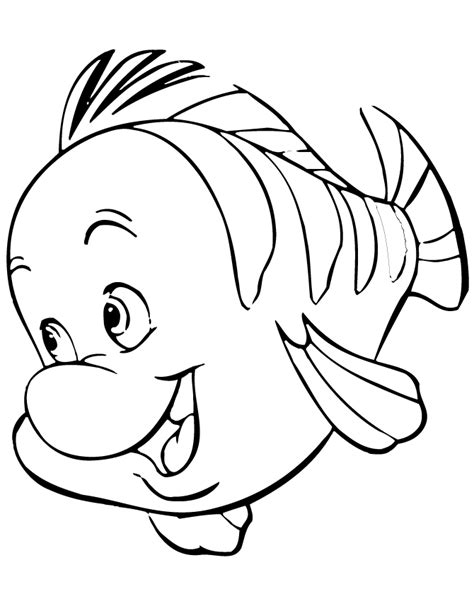 flounder from little mermaid cartoon coloring page h m
