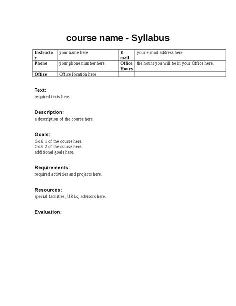 syllabus template word syllabus template for teachers images