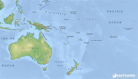 australia and oceania map free physical maps of australia and oceania mapswire