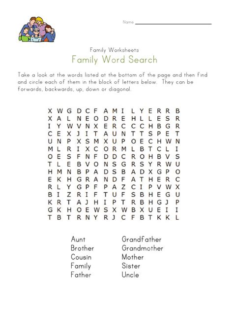 Search Relatives Family Word Search
