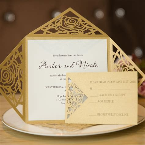 Gold Wedding Invitation Cards by Unique Gold Laser Cut Wedding Invitation Cards