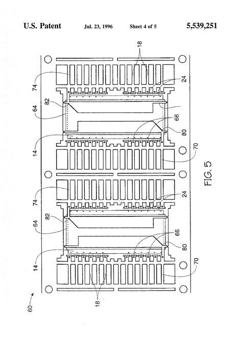 lead frame design rule patent us5539251 tie bar over chip lead frame design