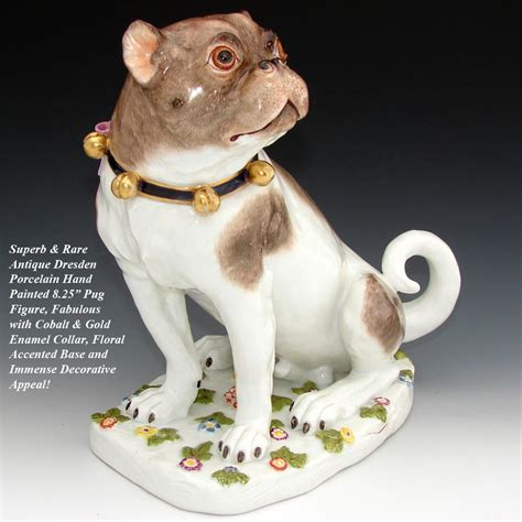 pug l base antique dresden porcelain pug 8 quot painted with from antiques