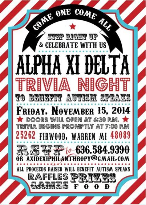 trivia night flyer fundraising ideas pinterest