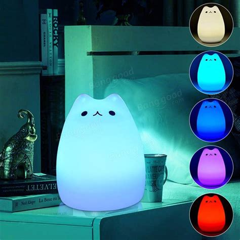 light sensitive night light rechargeable color changeable silicone led sensitive tap